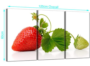 Set of 3 Strawberries Canvas Pictures 125cm x 60cm 3074