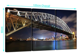 3 Panel Sydney Skyline Canvas Wall Art 125cm x 60cm 3041
