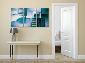 3 Panel Teal Cream Painting Kitchen Canvas Wall Art Accessories - Abstract 3417 - 126cm Set of Prints
