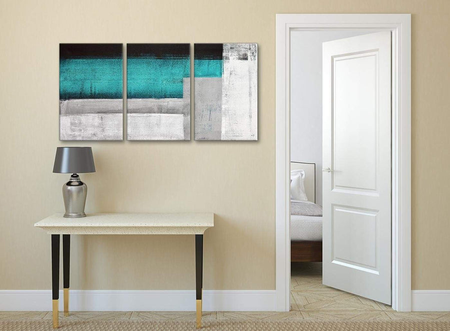 3 Piece Teal Turquoise Grey Painting Dining Room Canvas Pictures Accessories - Abstract 3429 - 126cm Set of Prints