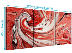 3 part abstract swirl canvas wall art red 3265