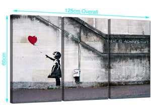 3 Part Banksy Canvas Prints 125cm x 60cm 3050