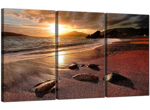 3 Part Seascape Canvas Art Beach Sunset 3131