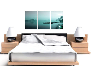 Teal Coloured Sunrise Jetty Lake View Landscape Canvas Art