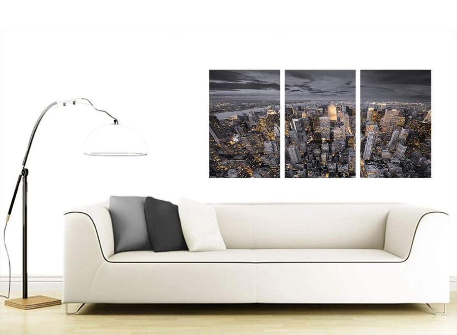 Black White Yellow New York Skyline Cityscape Canvas