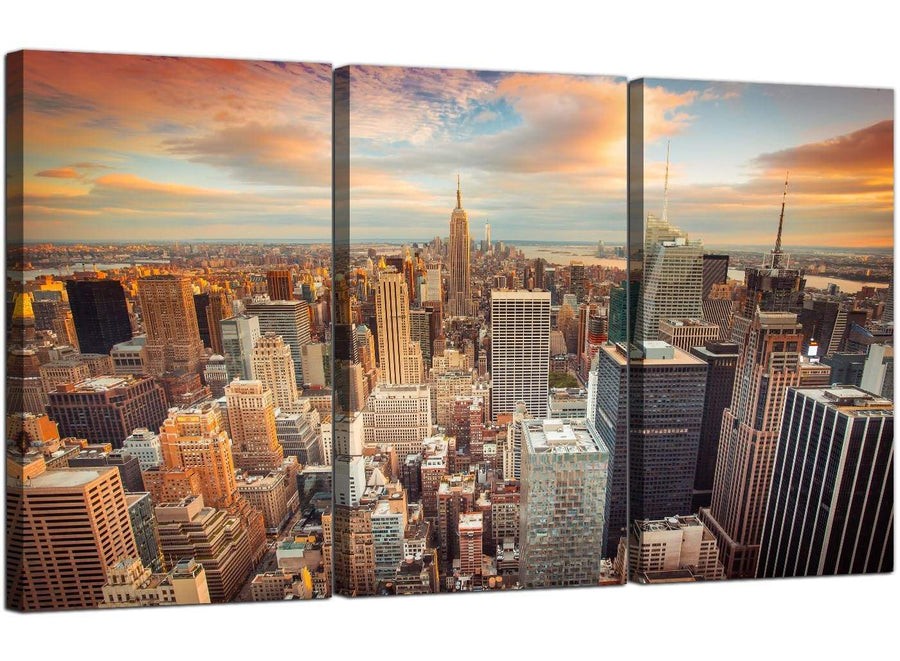 3 Panel City Canvas Prints NYC United States Skyline 3202