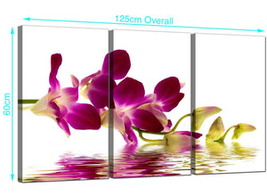 Three Part Orchids Canvas Wall Art 125cm x 60cm 3021