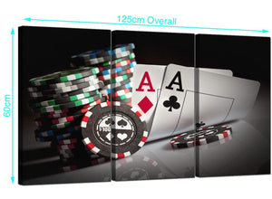Set of 3 Poker Cards Canvas Prints UK 125cm x 60cm 3048