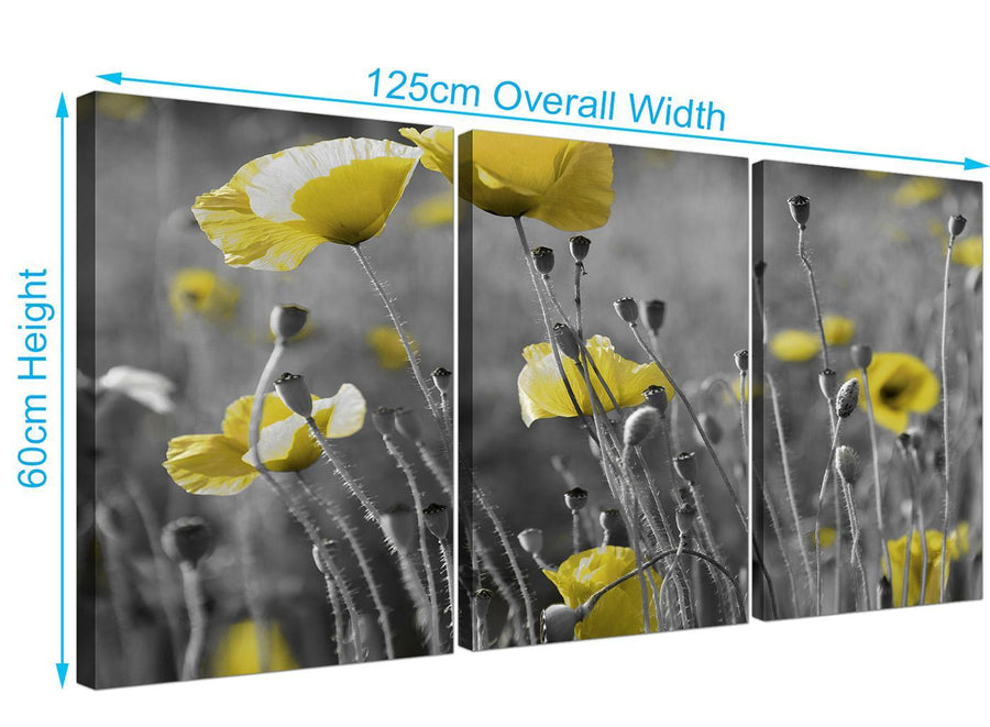 3 part poppies canvas art black and white 3258