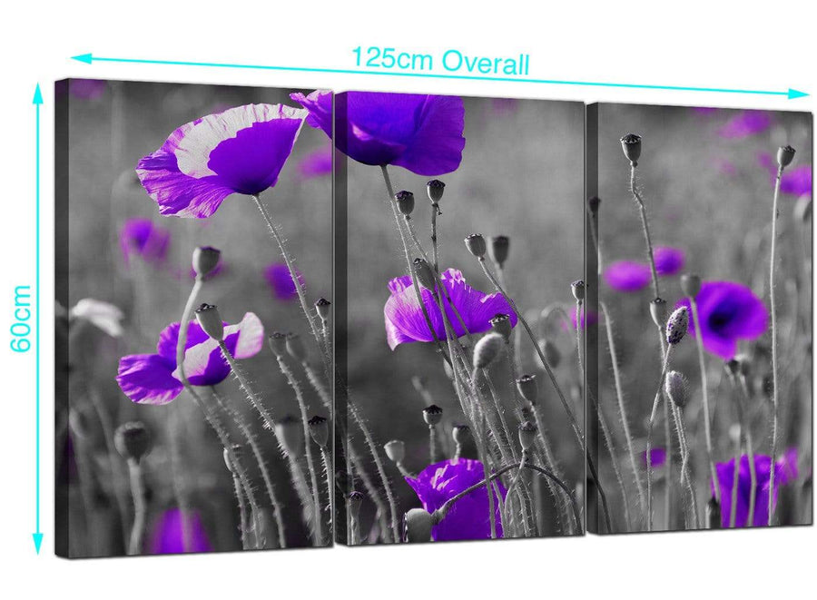 3 Part Poppy Canvas Prints UK 125cm x 60cm 3136