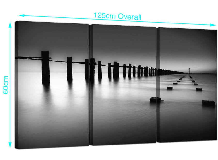 Set of 3 Sea Canvas Art 125cm x 60cm 3085