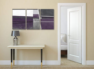 3 Piece Aubergine Grey Painting Hallway Canvas Pictures Decor - Abstract 3392 - 126cm Set of Prints