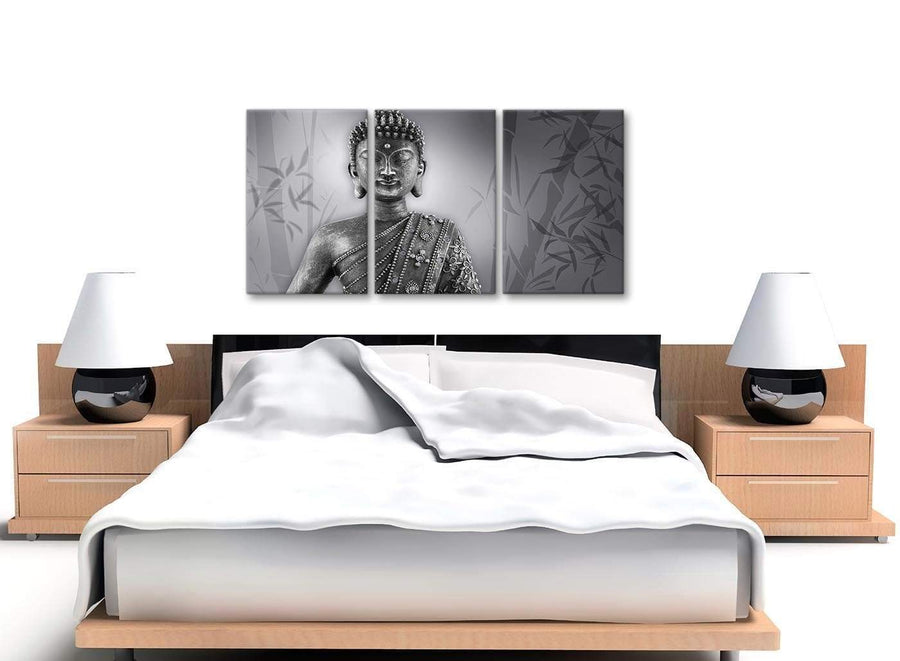 3 Panel Black White Buddha Kitchen Canvas Wall Art Accessories - 3373 - 126cm Set of Prints
