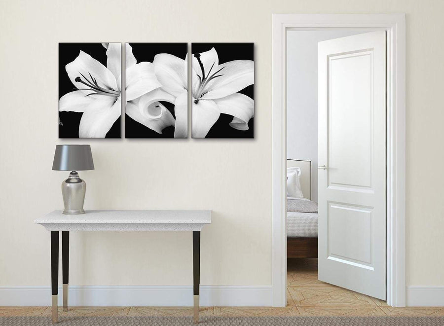 3 Panel Black White Lily Flower Kitchen Canvas Pictures Accessories - 3458 - 126cm Set of Prints