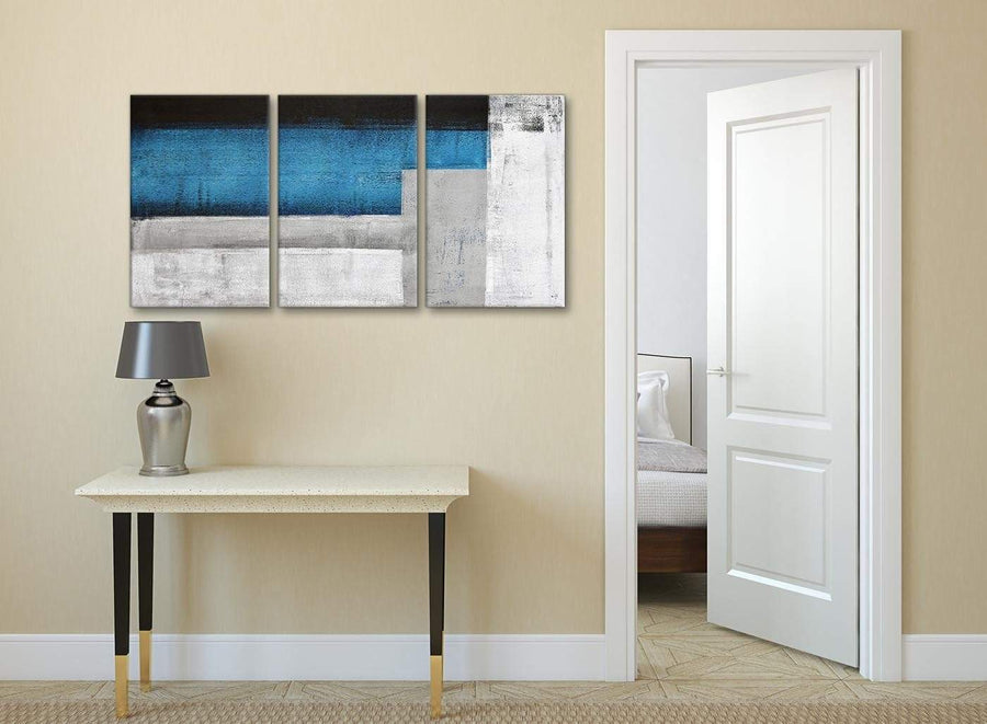 3 Piece Blue Grey Painting Dining Room Canvas Pictures Decor - Abstract 3423 - 126cm Set of Prints