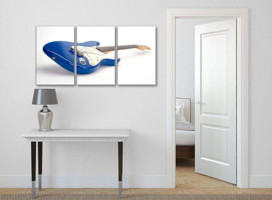 3 Piece Blue White Fender Electric Guitar - Dining Room Canvas Wall Art Decor - 3447 - 126cm Set of Prints