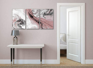 3 Panel Blush Pink and Grey Swirl Kitchen Canvas Pictures Accessories - Abstract 3463 - 126cm Set of Prints