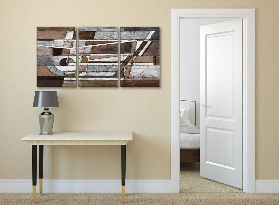 3 Panel Brown Beige White Painting Bedroom Canvas Wall Art Decor - Abstract 3407 - 126cm Set of Prints
