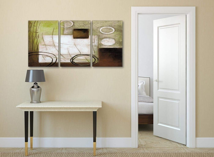 3 Piece Brown Green Painting Office Canvas Wall Art Decor - Abstract 3421 - 126cm Set of Prints