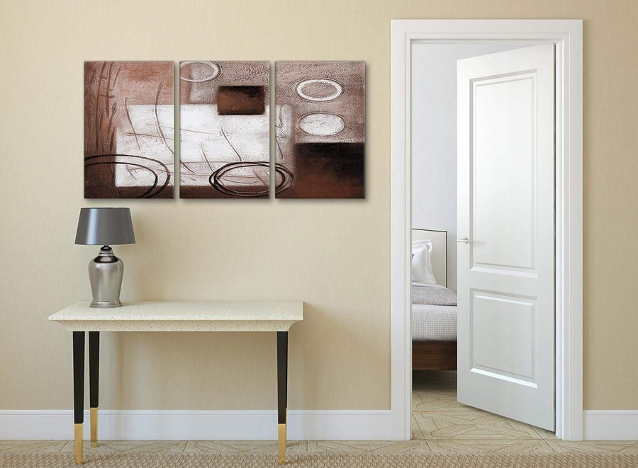 3 Piece Brown White Painting Kitchen Canvas Wall Art Accessories - Abstract 3422 - 126cm Set of Prints