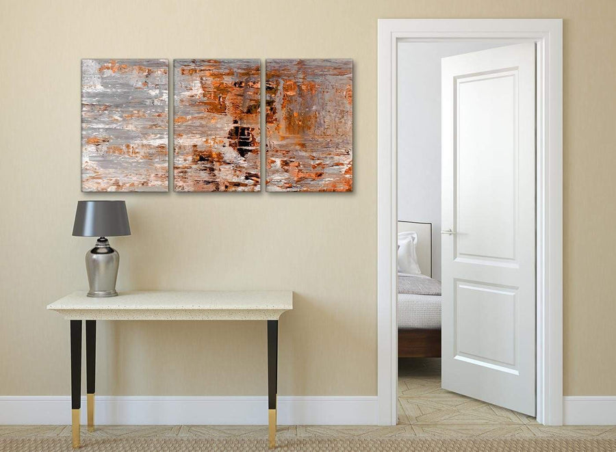 3 Panel Burnt Orange Grey Painting Kitchen Canvas Wall Art Accessories - Abstract 3415 - 126cm Set of Prints