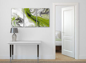 3 Piece Lime Green and Grey Swirl Kitchen Canvas Wall Art Accessories - Abstract 3464 - 126cm Set of Prints