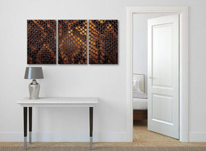 3 Panel Mustard Gold Snakeskin Animal Print Living Room Canvas Wall Art Accessories - Abstract 3474 - 126cm Set of Prints