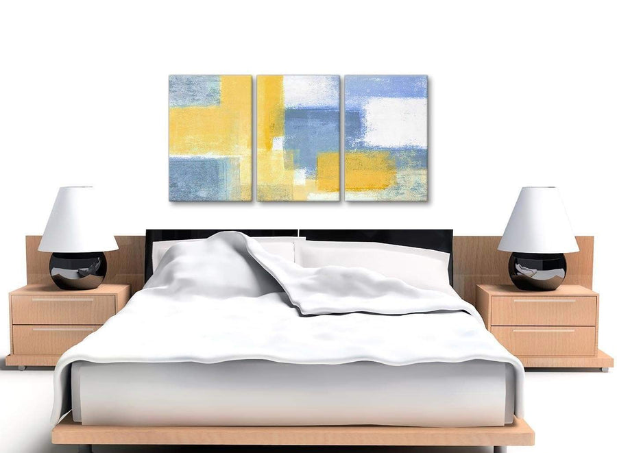 3 Panel Mustard Yellow Blue Kitchen Canvas Wall Art Accessories - Abstract 3371 - 126cm Set of Prints