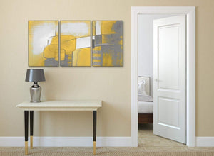 3 Piece Mustard Yellow Grey Painting Kitchen Canvas Pictures Decor - Abstract 3419 - 126cm Set of Prints