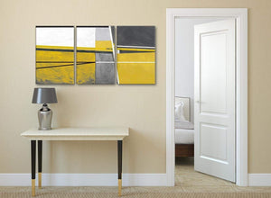 3 Panel Mustard Yellow Grey Painting Living Room Canvas Wall Art Decor - Abstract 3388 - 126cm Set of Prints