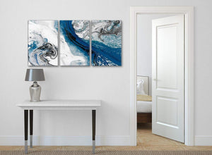 3 Piece Blue and Grey Swirl Dining Room Canvas Pictures Decor - Abstract 3465 - 126cm Set of Prints