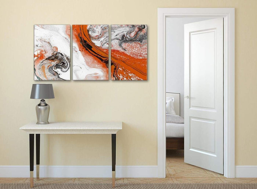 3 Panel Orange and Grey Swirl Dining Room Canvas Pictures Decor - Abstract 3461 - 126cm Set of Prints