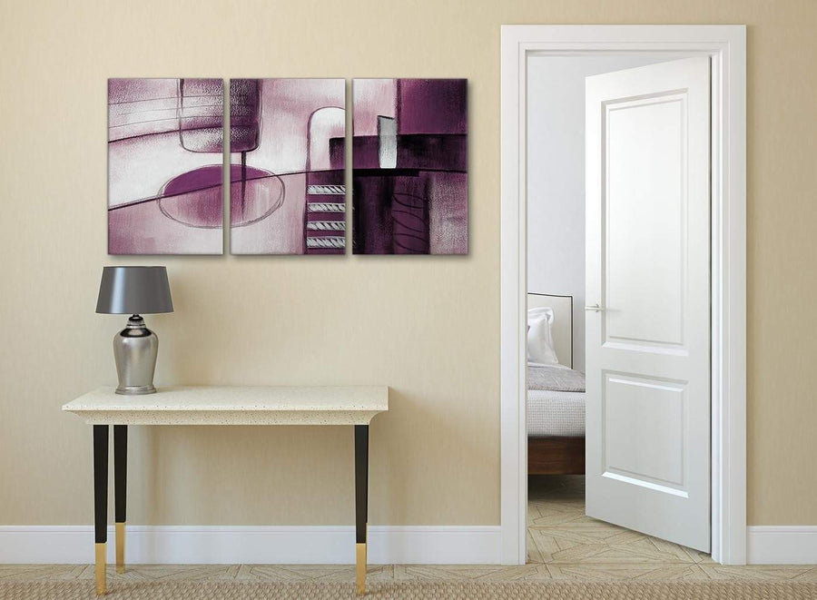 3 Piece Plum Grey Painting Kitchen Canvas Wall Art Accessories - Abstract 3420 - 126cm Set of Prints