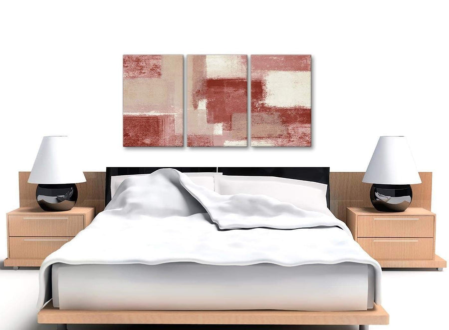 3 Piece Red and Cream Kitchen Canvas Pictures Decor - Abstract 3370 - 126cm Set of Prints