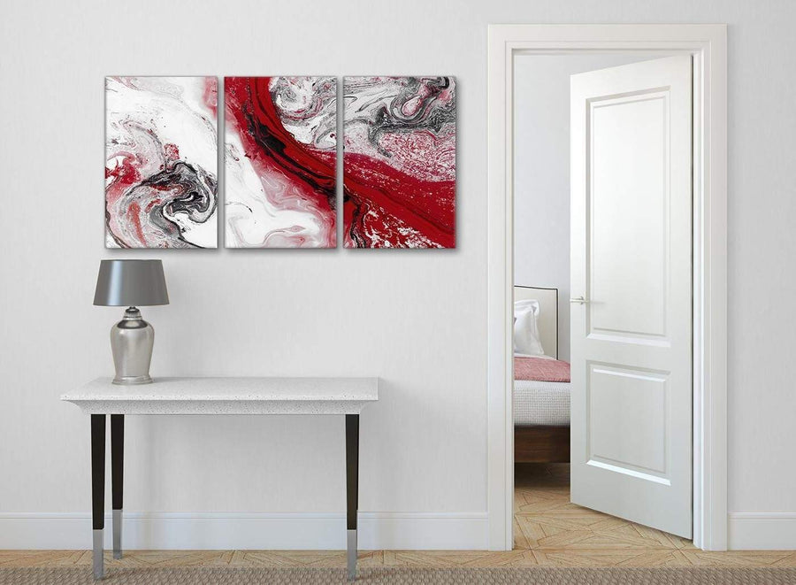 3 Panel Red and Grey Swirl Hallway Canvas Wall Art Accessories - Abstract 3467 - 126cm Set of Prints