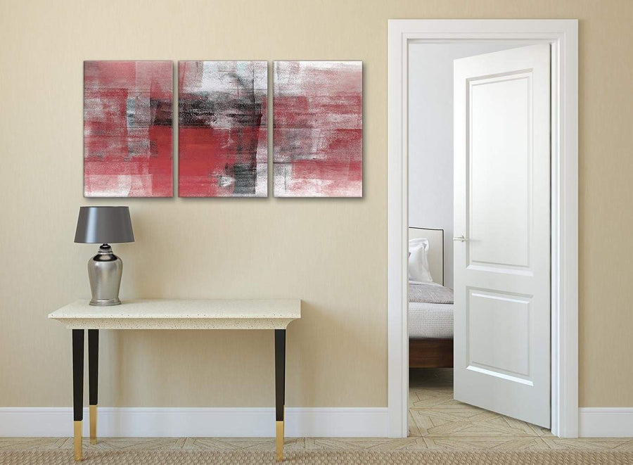 3 Panel Red Black White Painting Living Room Canvas Pictures Accessories - Abstract 3397 - 126cm Set of Prints