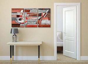 3 Piece Red Grey Painting Kitchen Canvas Pictures Accessories - Abstract 3401 - 126cm Set of Prints