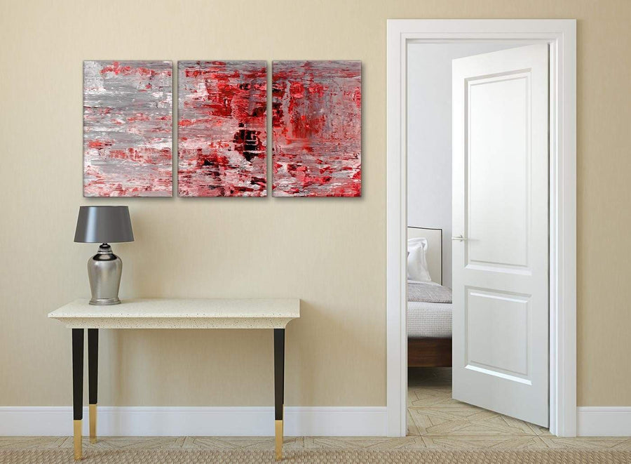 3 Panel Red Grey Painting Kitchen Canvas Wall Art Accessories - Abstract 3414 - 126cm Set of Prints