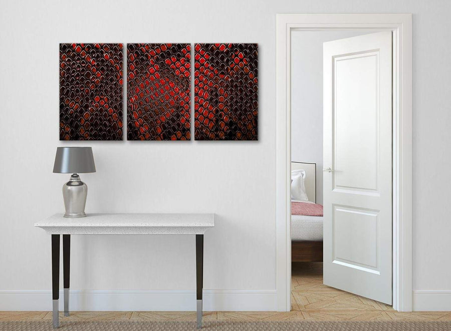 3 Panel Red Snakeskin Animal Print Kitchen Canvas Pictures Accessories - Abstract 3476 - 126cm Set of Prints