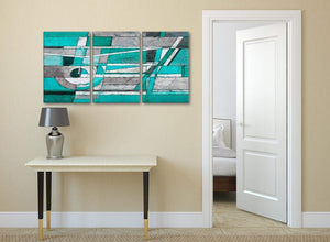 3 Piece Turquoise Grey Painting Kitchen Canvas Pictures Accessories - Abstract 3403 - 126cm Set of Prints