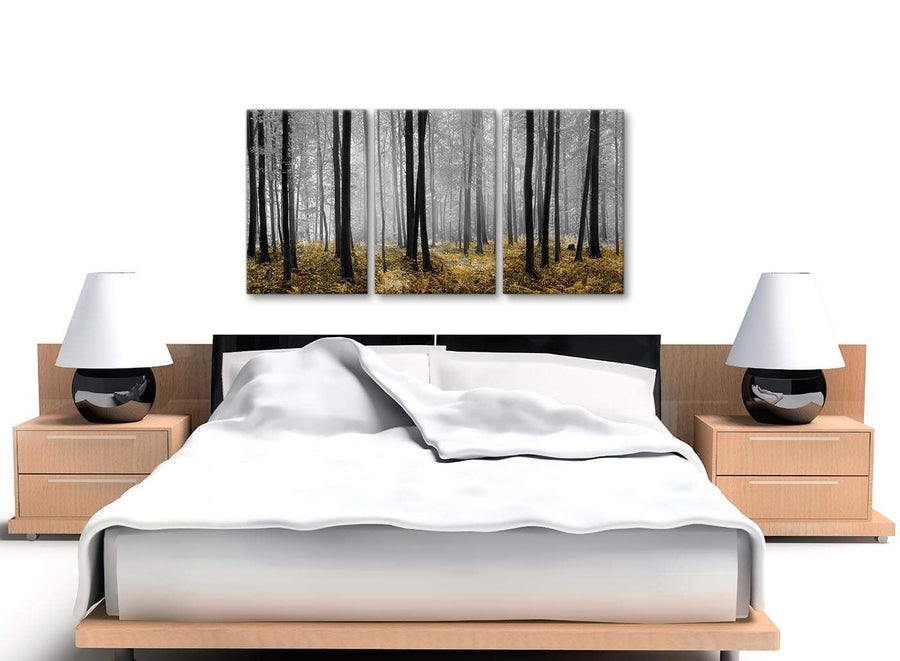 3 Panel Yellow and Grey Forest Woodland Trees Dining Room Canvas Wall Art Accessories - 3384 - 126cm Set of Prints