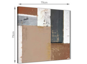 Chic Brown Beige Grey Abstract Painting Wall Art Print Canvas Modern 79cm Square 1S335L For Your Living Room