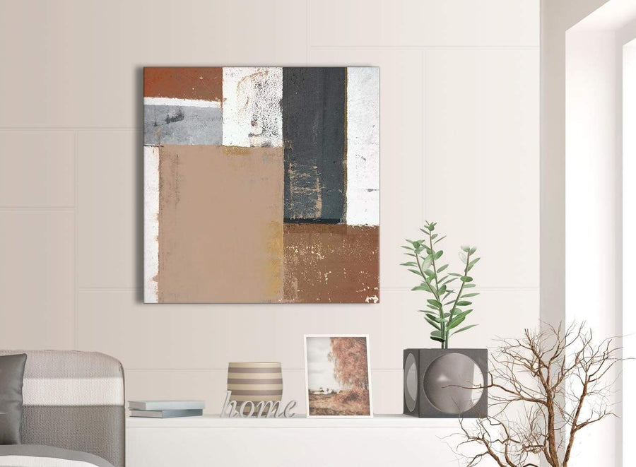 Contemporary Brown Beige Grey Abstract Painting Wall Art Print Canvas Modern 79cm Square 1S335L For Your Office
