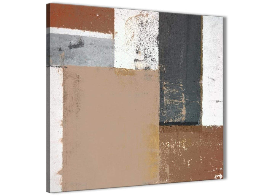 Modern Brown Beige Grey Abstract Painting Wall Art Print Canvas Modern 79cm Square 1S335L For Your Bedroom
