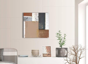 Contemporary Brown Beige Grey Abstract Painting Wall Art Print Canvas Modern 64cm Square 1S335M For Your Office