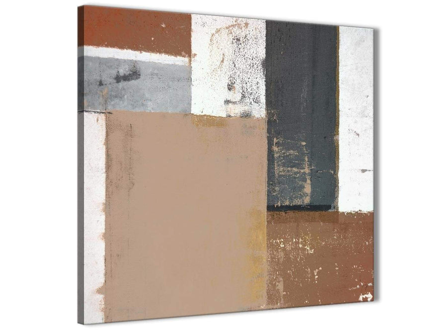 Modern Brown Beige Grey Abstract Painting Wall Art Print Canvas Modern 64cm Square 1S335M For Your Bedroom
