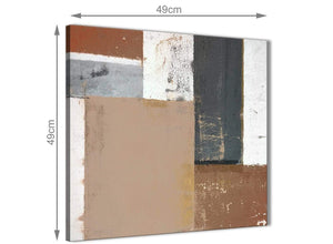 Chic Brown Beige Grey Abstract Painting Wall Art Print Canvas Modern 49cm Square 1S335S For Your Office