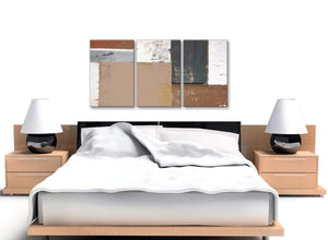 Cheap Brown Beige Grey Abstract Painting Wall Art Print Canvas Multi 3 Piece 125cm Wide 3335 For Your Bedroom