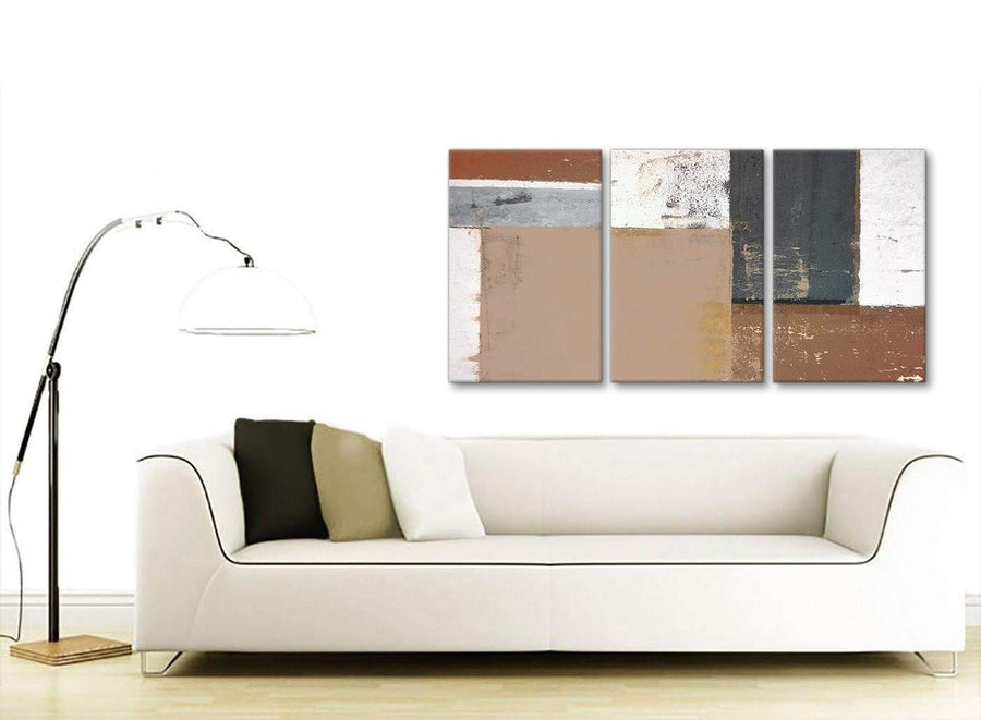 Contemporary Brown Beige Grey Abstract Painting Wall Art Print Canvas Multi 3 Piece 125cm Wide 3335 For Your Living Room