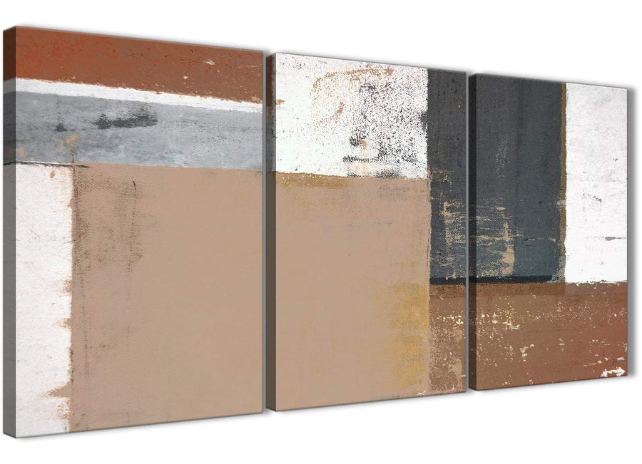 Oversized Brown Beige Grey Abstract Painting Wall Art Print Canvas Multi 3 Piece 125cm Wide 3335 For Your Bedroom